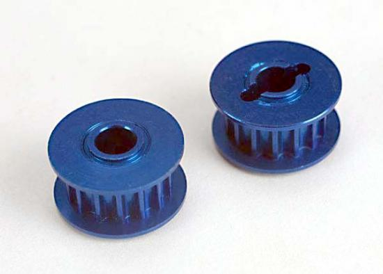 Pulleys - 15-groove (front/ rear) (blue-anodized - light-weight aluminum) (2)/flanges (2)