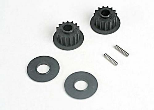Pulleys - 15-Groove (Front/ Rear) (2)/Flanges (2)/ Axle Pins (2)