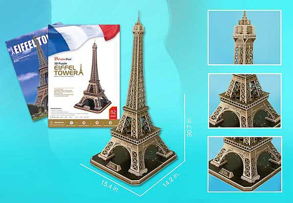Eiffel Tower Large 116 Piece 3D Puzzle With Book