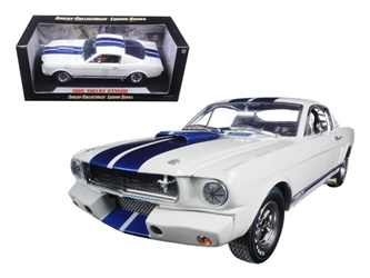 1965 Ford Shelby Mustang GT 350R White with Blue Stripes With Printed Carroll Shelby Signature on the roof 1/18 by Shelby Collectibles
