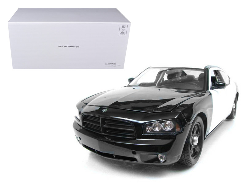 2006 Dodge Charger R/T Black/White Unmarked Police Car 1/18 Diecast Model Car by Welly