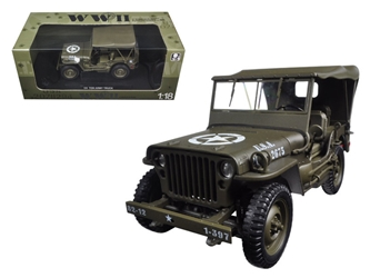 14 Ton US Army Jeep Vehicle WW 2 Hard Top (1:18)