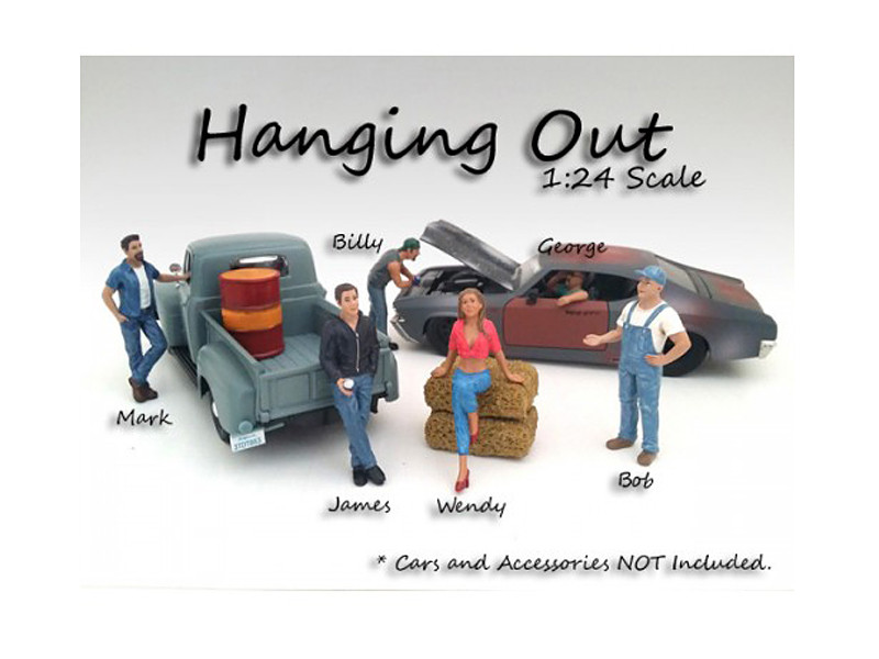 Hanging Out 6 Pieces Figure Set For 1:24 Scale Models by American Diorama