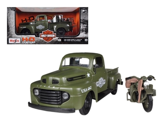 1948 Ford F-1 Pickup Truck Harley Davidson Flat Green With 1942 Harley Davidson WLA Flathead Motorcycle (1:25)