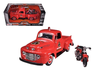 1948 Ford F-1 Pickup Truck Harley Davidson Fire With 1936 El Knucklehead Harley Davidson Motorcycle (1:24)