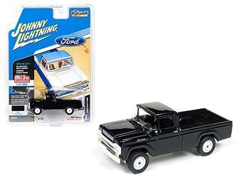 "1959 Ford F-250 Pickup Truck Black ""Classic Gold"" 1/64 Diecast Model Car by Johnny Lightning"