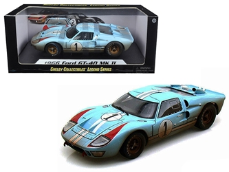 1966 Ford GT-40 MK 2 Gulf Blue Dirty Version #1 1/18 Diecast Car Model by Shelby Collectibles