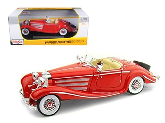 1936 Mercedes 500K Special Roadster Red 1/18 Diecast Model Car by Maisto