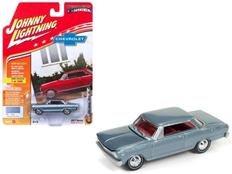 "1965 Chevrolet Nova SS Glacier Gray Poly Limited Edition to 1800pc Worldwide Hobby Exclusive ""Muscle Cars USA"" 1/64 Diecast Model Car by Johnny Lightning"