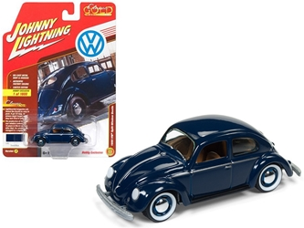 "1950 Volkswagen Split Window Beetle Dark Blue Limited Edition to 1800pc Worldwide Hobby Exclusive ""Classic Gold"" 1/64 Diecast Model Car by Johnny Lightning"