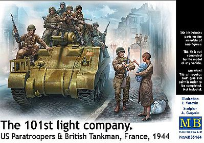 101th Sq US Paratroopers & British Tankmen France 1944 1:35