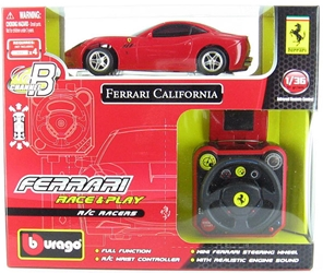 Ferrari Race and Play - Ferrari California Hard Top Remote Control Racer Now this is one fun little race car! It has full function movement and a wrist controller with a mini steering wheel. This item also features realistic engine sounds. <b>Require (1:36)