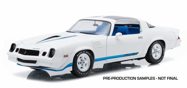 1979 Chevrolet Camaro Z/28 in White with Blue Stripes and Interior - T-Tops Removed (1:18)