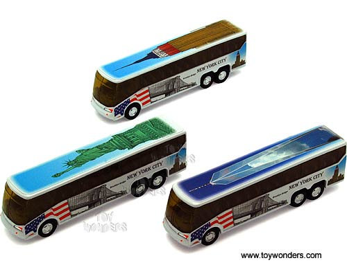 "NYC Coach Bus w: Statue of Liberty, Empire State Building Freedom Tower (6"" diecast model car, Assorted Colors.)"