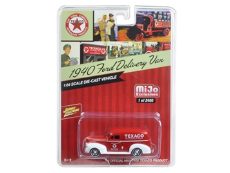 "1940 Ford Delivery Van ""Texaco"" Red 1/64 Diecast Model Car by Johnny Lightning"