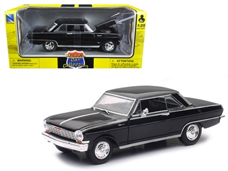 "1964 Chevrolet Nova SS Black ""Muscle Car Collection"" 1/25 Diecast Model Car by New Ray"
