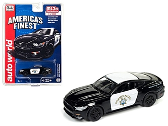 "2017 Ford Mustang GT ""Americas Finest"" CHP California Highway Patrol Limited Edition to 3600pcs 1/64 Diecast Model Car by Autoworld"