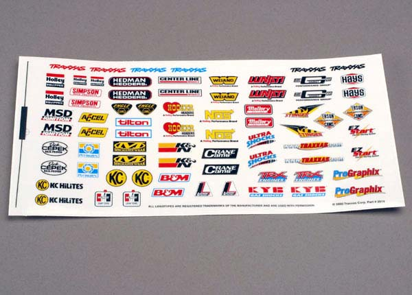 Decal Sheet Sponsor, Traxxas Radio Control Item Number TRX2514