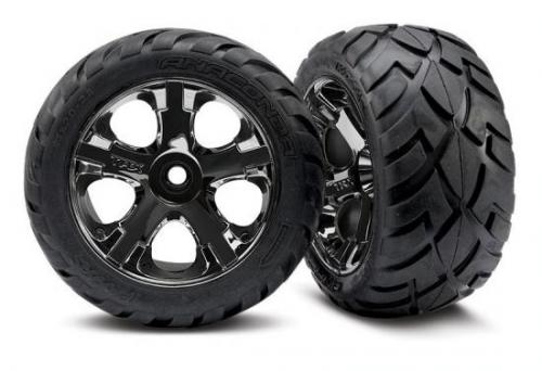 Anaconda TIres Pre Glued On All Star Black Chrome Wheels - 12mm Hex, Traxxas Radio Control Item Number TRX3773A