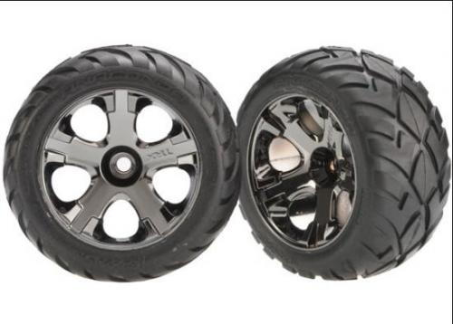Anaconda TIres Pre-Glued On Black Chrome Nitro Front Wheels (pair), Traxxas Radio Control Item Number TRX3777A