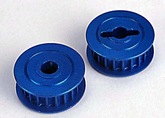 Pulleys - 20-Groove (Middle)(Blue-Anodized - Light-Weight Aluminum) (2)/ Flanges (2)