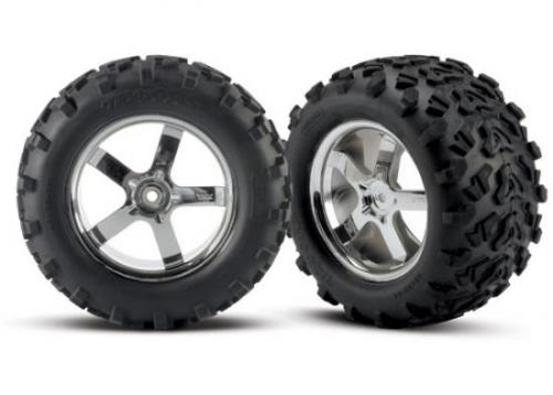 "6.3 Inch MAXX Tires - Pre Glued On 3.8"" Chrome Hurricane Wheels - Pair - 14mm Hex, Traxxas Radio Control Item Number TRX4973R"