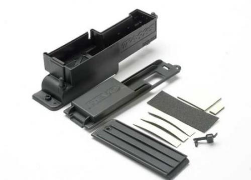 Electronics Box - Right/ Box Cover/ Charge Jack Plug (Rubber)/ Foam Padding And Adhesive, Traxxas Radio Control Item Number TRX5324