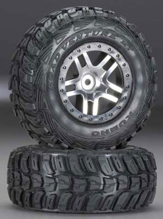 6870R Tire/6872 Wheel Mounted Slash 4x4 (2WD Rear), Traxxas Radio Control Item Number TRX6874R