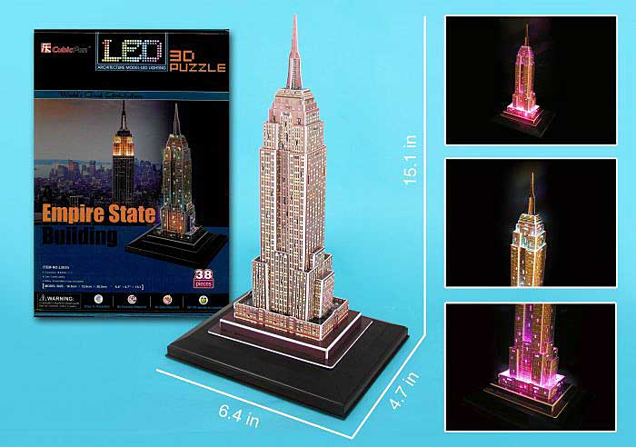 Empire State 3D Puzzle With Base & Lights 38 Pieces, 3D Puzzles, Item Number CFL503H