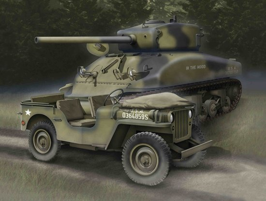 1/4 Ton 4x4 Truck + Sherman M4A1(76) W VVSS (1:72), Dragon Model Kits Item Number DRA7412