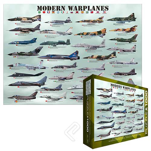 "Modern Warplanes Puzzle (1000 pieces 26.5"" x 19.25"")"