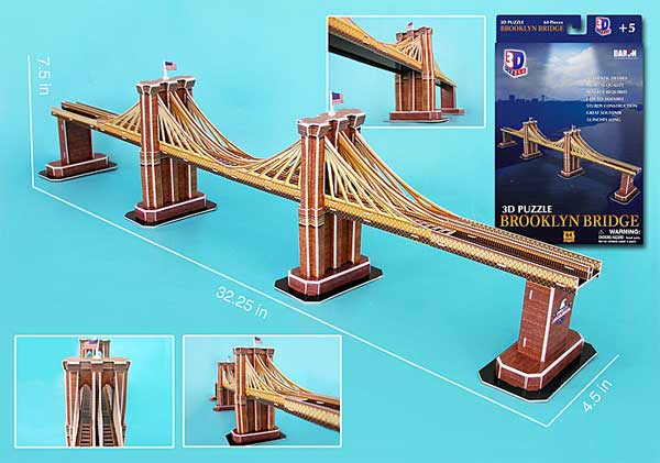 Brooklyn Bridge 3D Puzzle - 64 Pieces