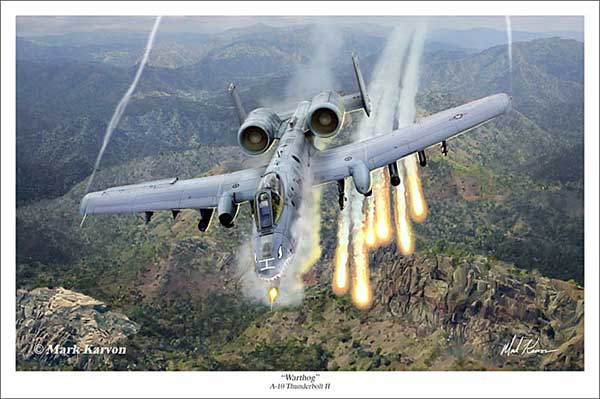 "A-10 Thunderbolt II ""Warthog"" (Fine Art Print), Mark Karvon Aviation Art Item Number MKNA10"