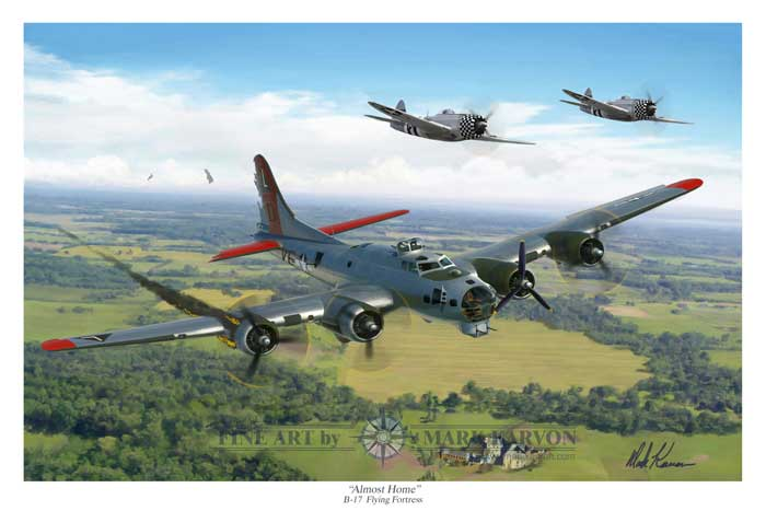 "B-17 Stratofortress ""Almost Home"" (Fine Art Print), Mark Karvon Aviation Art Item Number MKNB17"