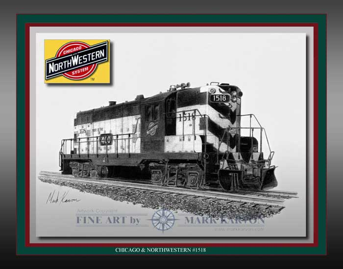 "C&NW GP-9 ""Chicago & North Western #1518"" (Pencil Print 11"" x 14""), Mark Karvon Aviation Art Item Number MKNCNWEGP9"