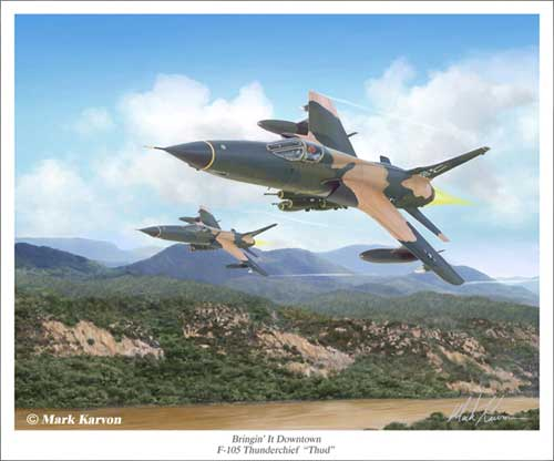 "F-105 Thunderchief ""Bringin it Downtown"" (Fine Art Print), Mark Karvon Aviation Art Item Number MKNF105"