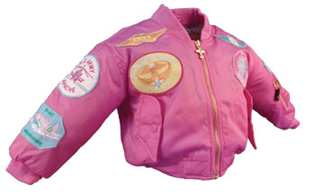 Youth MA1 Jacket With Patches, Pink, FlightLine Item Number FL-MA1-P