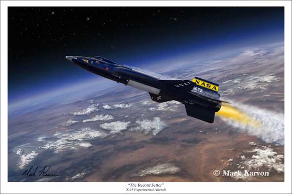 "X-15 ""The Record Setter (Fine Art Print), Mark Karvon Aviation Art Item Number MKNX15"