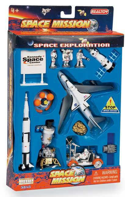 Lunar Explorer 16 Piece Playset W/Kennedy Space Center Sign, Realtoy Diecast Toys Item Number RT38145K