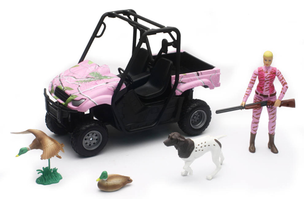 Side By Side Atv >> Duck Hunting Set With Side By Side Atv In Pink Camo Hunter Figure And Hunting Accessories 1 12
