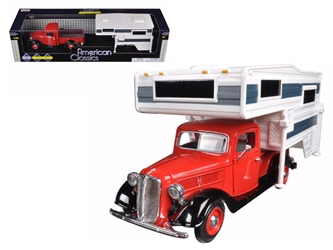 1937 Ford Pickup Truck Red With Camper (1:24), Motormax Item Number MMX75200R