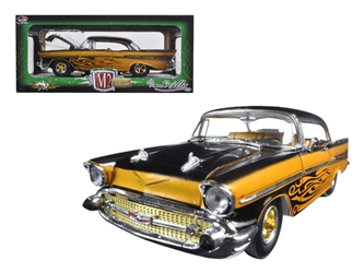 "1957 Chevrolet Bel Air Hard Top Molten Gold and Gloss Black Metallic ""Tom Kelly Special Edition"" 1/24 Diecast Model Car by M2 Machines"