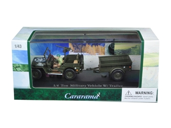 14 Ton Military Army Vehicle with Trailer and Display Case (1:43), Cararama Item Number CRR14901