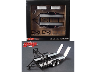 Tandem Car Trailer with Tire Rack Black For 1/43 Scale Diecast Model Cars by GMP, GMP Item Number 14302