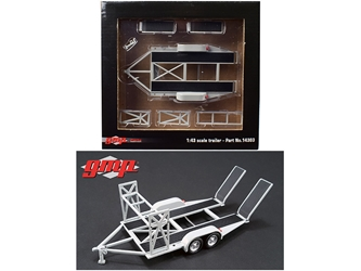 Tandem Car Trailer with Tire Rack Grey For 1/43 Scale Diecast Model Cars by GMP, GMP Item Number 14303