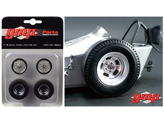"Vintage Dragster Wheels and Tires Set of 4 from ""The Chizler V"" Vintage Dragster 1/18 Model by GMP"