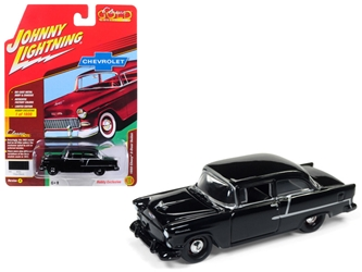 "1955 Chevrolet 2 Door Sedan Onyx Black ""Classic Gold"" Limited Edition to 1800pc Worldwide Hobby Exclusive 1/64 Diecast Model Car by Johnny Lightning"