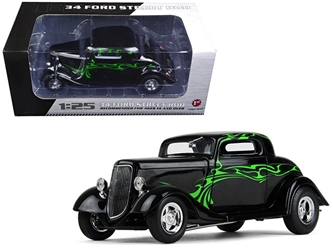 1934 Ford Coupe Street Rod Black with Lime Green 1/25 Diecast Model Car by First Gear