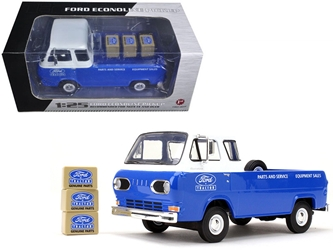 1960s Ford Econoline Pickup Blue with Boxes Ford Tractor Parts & Service 1/25 Diecast Model Car by First Gear
