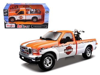 1999 Ford F-350 Pickup Truck With Harley Davidson 1/27 with 1936 El Knucklehead Motorcycle 1/24 Orange/White by Maisto